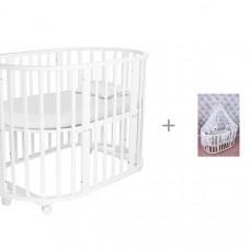 Кроватка-трансформер Forest Круглая Lavatera 6 в 1 (колесо) и Комплект AmaroBaby Good Night 19