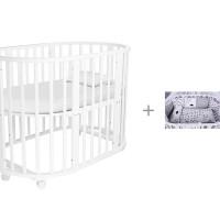 Кроватка-трансформер Forest круглая Lavatera 6 в 1 (колесо) и Комплект в кроватку AmaroBaby Good Night 15