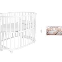 Кроватка-трансформер Forest круглая Lavatera 6 в 1 (колесо) и Комплект в кроватку Amarobaby Premium Элит
