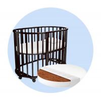 Кроватка-трансформер Forest круглая Lavatera 6 в 1 (колесо) с матрасом и наматрасником