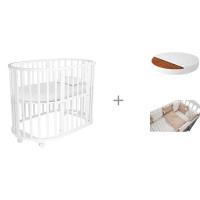 Кроватка-трансформер Forest Lavatera 6 в 1 (колесо) с матрасом Малышок Классик и комплектом в кроватку Dream