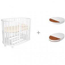 Кроватка-трансформер Forest Lavatera 6 в 1 (маятник) с матрасами круглым Малышок Классик и овальным Дрема Классик