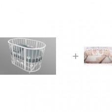 Кроватка-трансформер Forest Lavatera Hearts 6 в 1 (маятник поперечный) и Комплект Amarobaby Premium Элит