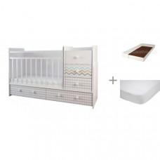 Кроватка-трансформер Forest Little Bear (маятник поперечный) с матрасом Малыш 2 и наматрасником Caress (махра)