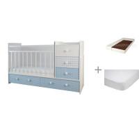 Кроватка-трансформер Forest Little Prince (маятник поперечный) с матрасом Малыш 2 и наматрасником Caress (махра)