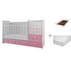 Кроватка-трансформер Forest Little Princess (маятник поперечный) с матрасом Малыш 2 и наматрасником Caress (махра)
