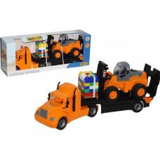 """Майк"", автомобиль-трейлер + автокар + конструктор ""Супер-Микс"" - 30 элем. на поддоне (в коробке)"