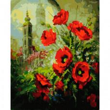Molly Картина по номерам Маки на фоне собора 40х50 см