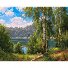 Molly Картина по номерам Прищепа. Лесное озеро 40х50 см