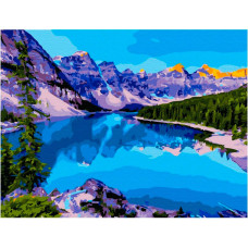 Molly Картина по номерам с цветной схемой на холсте Озеро в Канаде 40х30 см