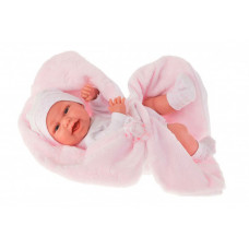 Munecas Antonio Juan Кукла-младенец Фатима на розовом одеяльце 33 см