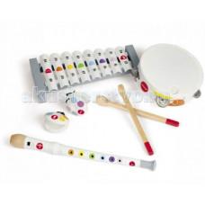Музыкальный инструмент Janod Набор белых музыкальных инструментов - металлофон, флейта, бубен, кастаньеты
