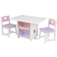 """Набор детской мебели """"Heart""""(стол+2 стула+4 ящика)"""
