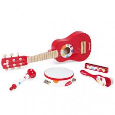 Набор игрушечных музыкальных инструментов - гитара, бубен, губная гармошка, дудочка, трещотка