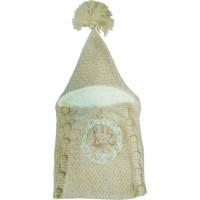 Папитто Демисезонный конверт Цветок вязаный на пуговицах