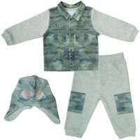 Папитто Комплект (кофточка, штанишки и шапочка) для мальчика Fashion Jeans 585-05