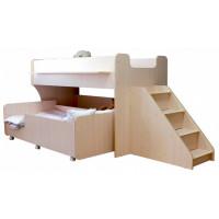 Подростковая кровать Можга (Красная Звезда) двухъярусная с лестницей и ящиками Капризун 7