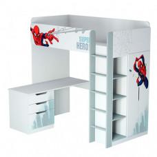 Подростковая кровать Polini kids чердак Marvel 4355 Человек паук с письменным столом и шкафом