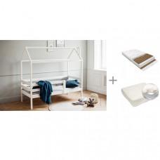 Подростковая кровать RooRoom Домик с 1 ограничителем 140х70, Матрас Baby Elite Optima 140х70х13 и Наматрасник Rainproof Comfort 140x70