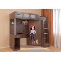 Подростковая кровать РВ-Мебель чердак Астра 7 Париж (дуб шамони)