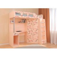 Подростковая кровать РВ-Мебель чердак Астра 7 Сердечки (дуб молочный)