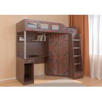 Подростковая кровать РВ-Мебель чердак Астра 7 Сердечки (дуб шамони)