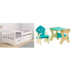 Подростковая кровать Столики Детям с бортиком Классика и столик со стульчиком Гном