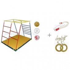 Ранний старт Детский спортивный комплекс Люкс базовая комплектация с канатом и кольцами Kidwood
