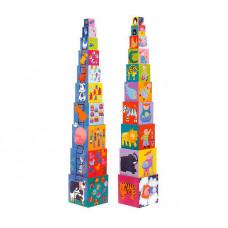 Развивающая игрушка Djeco Кубики-пирамида Забавные кубики