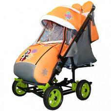 Санки-коляска Galaxy Snow City-3-1 Пингвин на больших колёсах