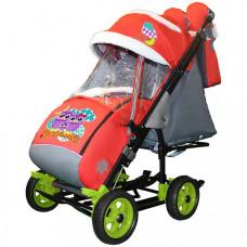 Санки-коляска Galaxy Snow City-3-1 Совушки на больших колёсах