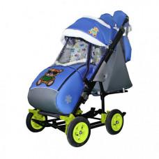 Санки-коляска Galaxy Snow City-3-2 Мишка на больших надувных колёсах