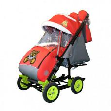 Санки-коляска Galaxy Snow City-3-2 Мишка с бабочкой на больших надувных колёсах