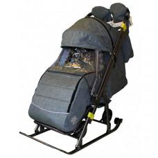 Санки-коляска Galaxy Snow Kids-3-3-С Джинс на больших колесах