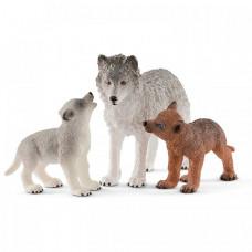 Schleich Игровые фигурки Самка волка со щенками