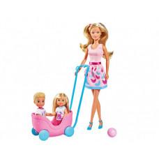 Simba Кукла Штеффи Еви Тимми с питомцами набор Веселая прогулка