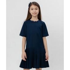 Синее платье с коротким рукавом Button Blue