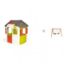 Smoby Игровой домик Jura Neo и качели Можга (Красная Звезда) деревянные со спинкой