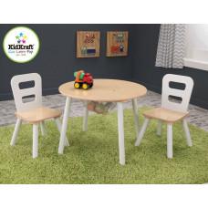"Стол + 2 стула ""Сокровищница"", бежевый (Round Storage Table & Chair Set)"