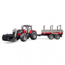 Трактор Massey Ferguson c манипулятором и прицепом Bruder