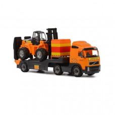"""""""Volvo"""", игрушечный автомобиль-трейлер + автокар + конструктор """"Супер-Микс"""" - 30 элементов на поддоне (в коробке)"""