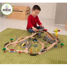 """Железная дорога - деревянный игровой набор """"Горная стройка"""", в  контейнере"""