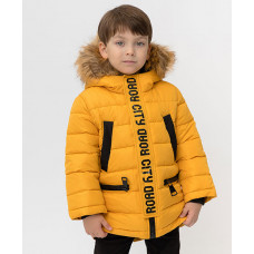 Зимнее пальто горчичного цвета Button Blue 220BBBMC45010400